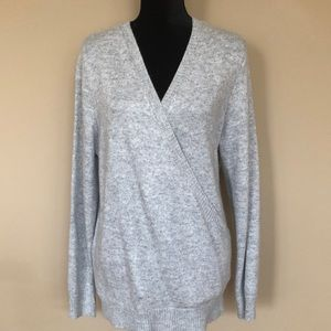 Love Stitch Soft Grey Surplice Wrap Sweater NWT